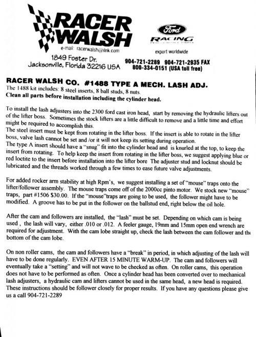 Racer Walsh RWA1488 2.3L Mechanical Lifter Lash Adjuster Set For Camshafts Using Stock Length Valves